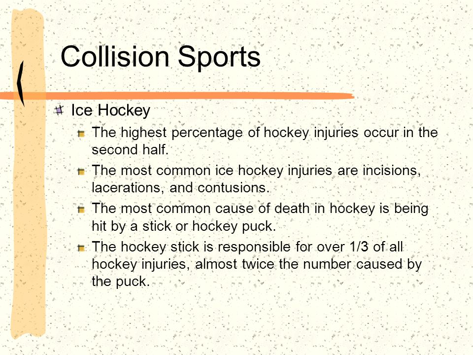 Scenario #2 A hockey player was taking a shot on goal when his stick hit the jaw of the player who was guarding him.