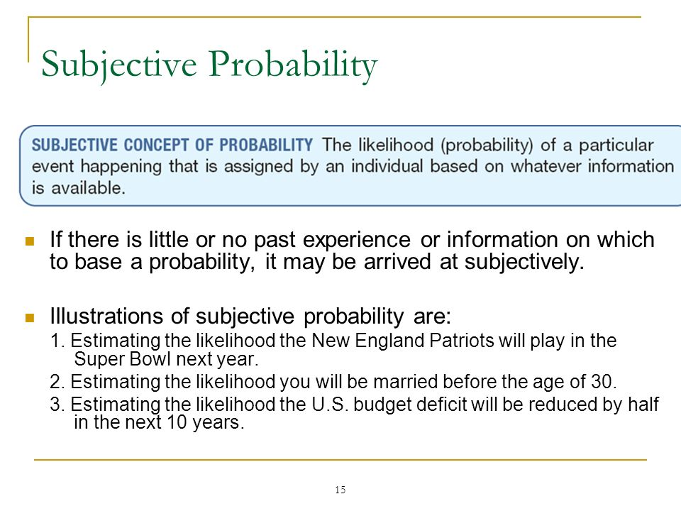15 Subjective Probability If there is little or no past experience or information on which to base a probability, it may be arrived at subjectively. I