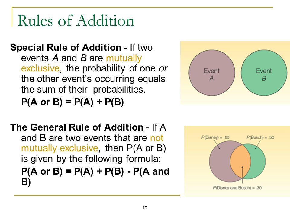 17 Rules of Addition Special Rule of Addition - If two events A and B are mutually exclusive, the probability of one or the other events occurring equ