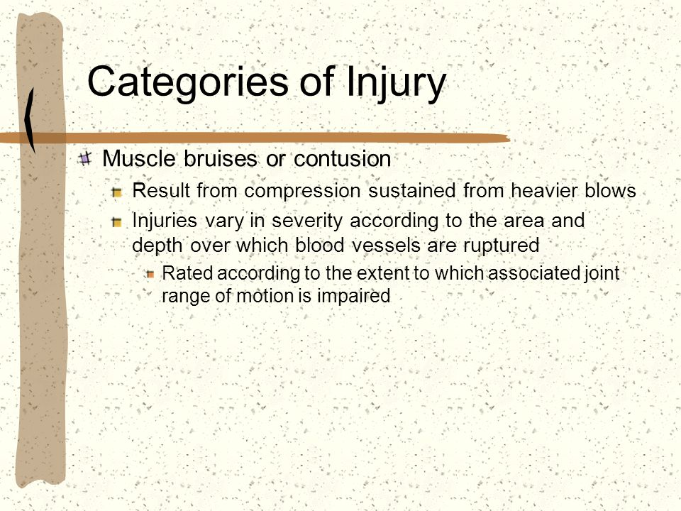 Categories of Injury Muscle bruises or contusion Result from compression sustained from heavier blows Injuries vary in severity according to the area