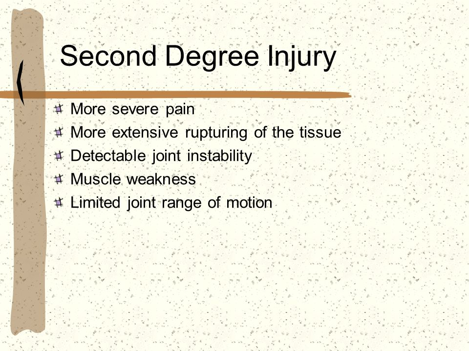 Second Degree Injury More severe pain More extensive rupturing of the tissue Detectable joint instability Muscle weakness Limited joint range of motio