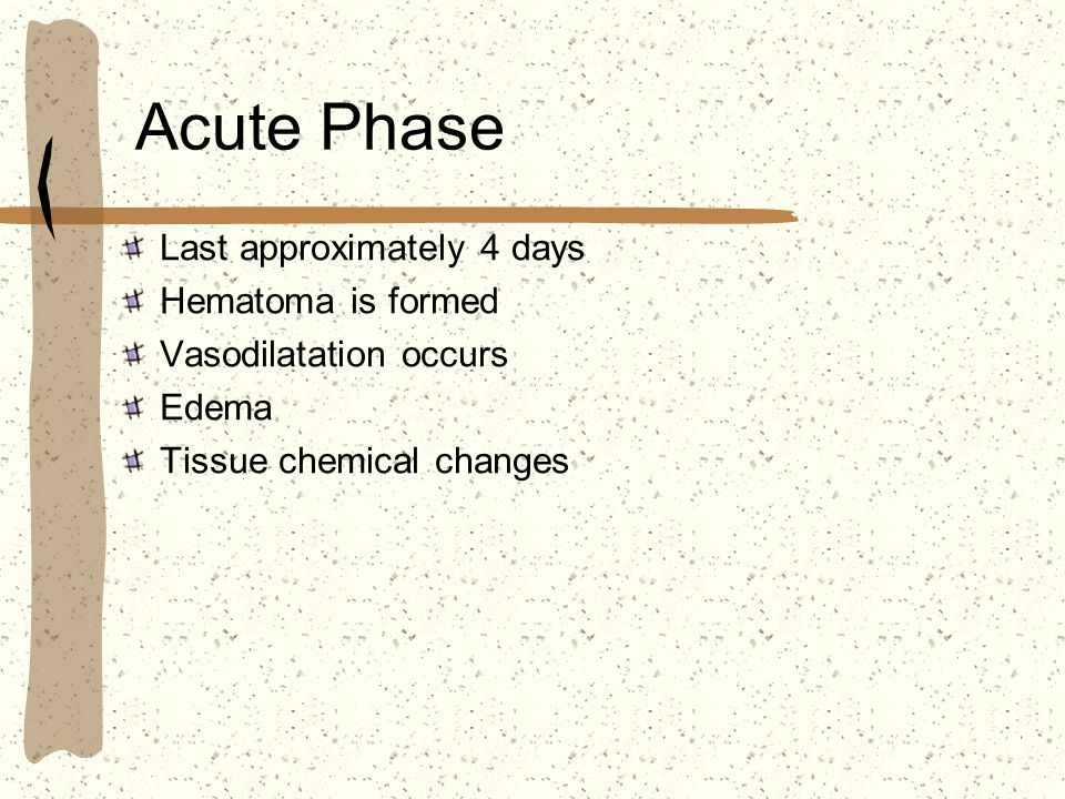 Acute Phase Last approximately 4 days Hematoma is formed Vasodilatation occurs Edema Tissue chemical changes