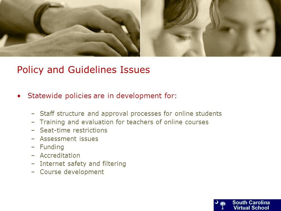 Policy and Guidelines Issues Statewide policies are in development for: –Staff structure and approval processes for online students –Training and evaluation for teachers of online courses –Seat-time restrictions –Assessment issues –Funding –Accreditation –Internet safety and filtering –Course development