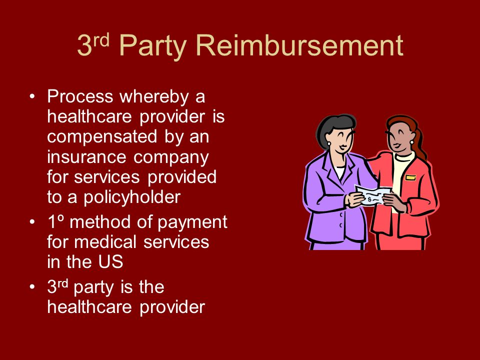 3 rd Party Reimbursement Process whereby a healthcare provider is compensated by an insurance company for services provided to a policyholder 1º method of payment for medical services in the US 3 rd party is the healthcare provider