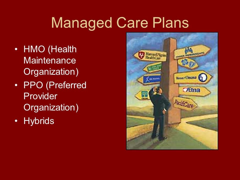 Managed Care Plans HMO (Health Maintenance Organization) PPO (Preferred Provider Organization) Hybrids