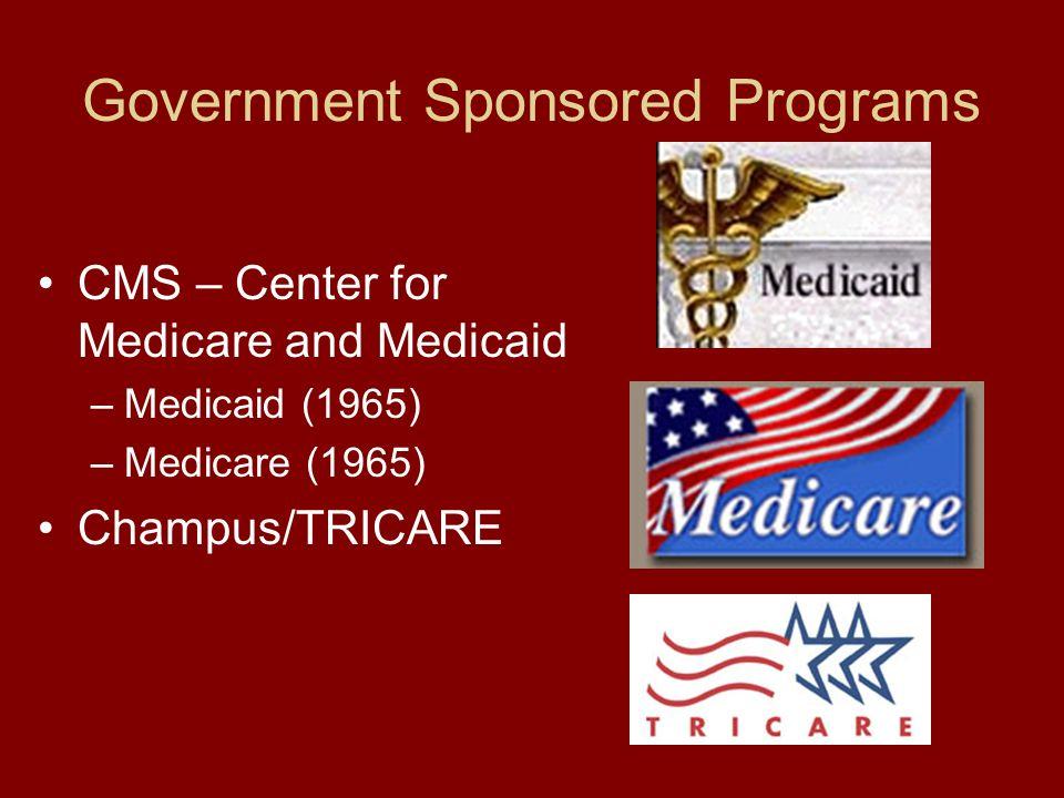 Government Sponsored Programs CMS – Center for Medicare and Medicaid –Medicaid (1965) –Medicare (1965) Champus/TRICARE
