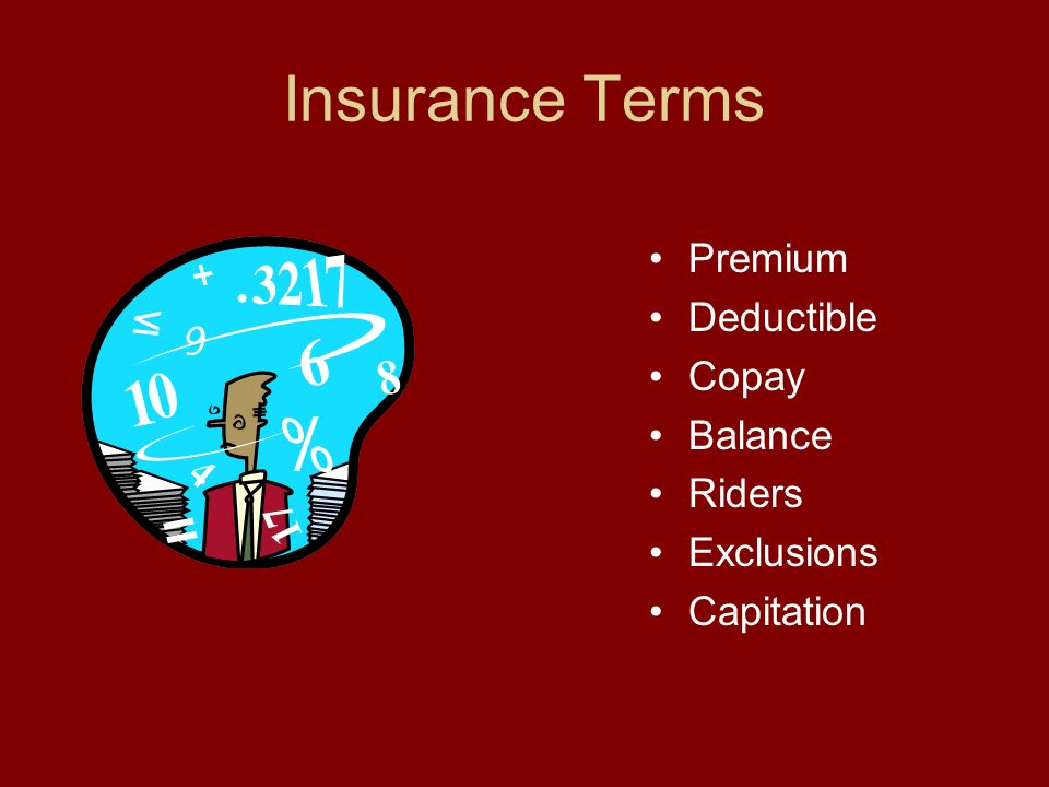 Insurance Terms Premium Deductible Copay Balance Riders Exclusions Capitation