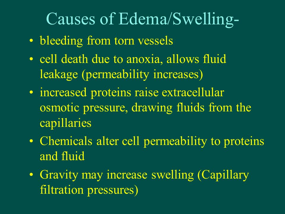 Causes of Edema/Swelling- bleeding from torn vessels cell death due to anoxia, allows fluid leakage (permeability increases) increased proteins raise extracellular osmotic pressure, drawing fluids from the capillaries Chemicals alter cell permeability to proteins and fluid Gravity may increase swelling (Capillary filtration pressures)