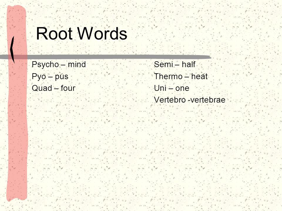 Root Words Psycho – mind Pyo – pus Quad – four Semi – half Thermo – heat Uni – one Vertebro -vertebrae