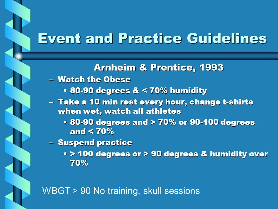 Event and Practice Guidelines Arnheim & Prentice, 1993 –Watch the Obese degrees & < 70% humidity80-90 degrees & < 70% humidity –Take a 10 min rest every hour, change t-shirts when wet, watch all athletes degrees and > 70% or degrees and 70% or degrees and < 70% –Suspend practice > 100 degrees or > 90 degrees & humidity over 70%> 100 degrees or > 90 degrees & humidity over 70% WBGT > 90 No training, skull sessions