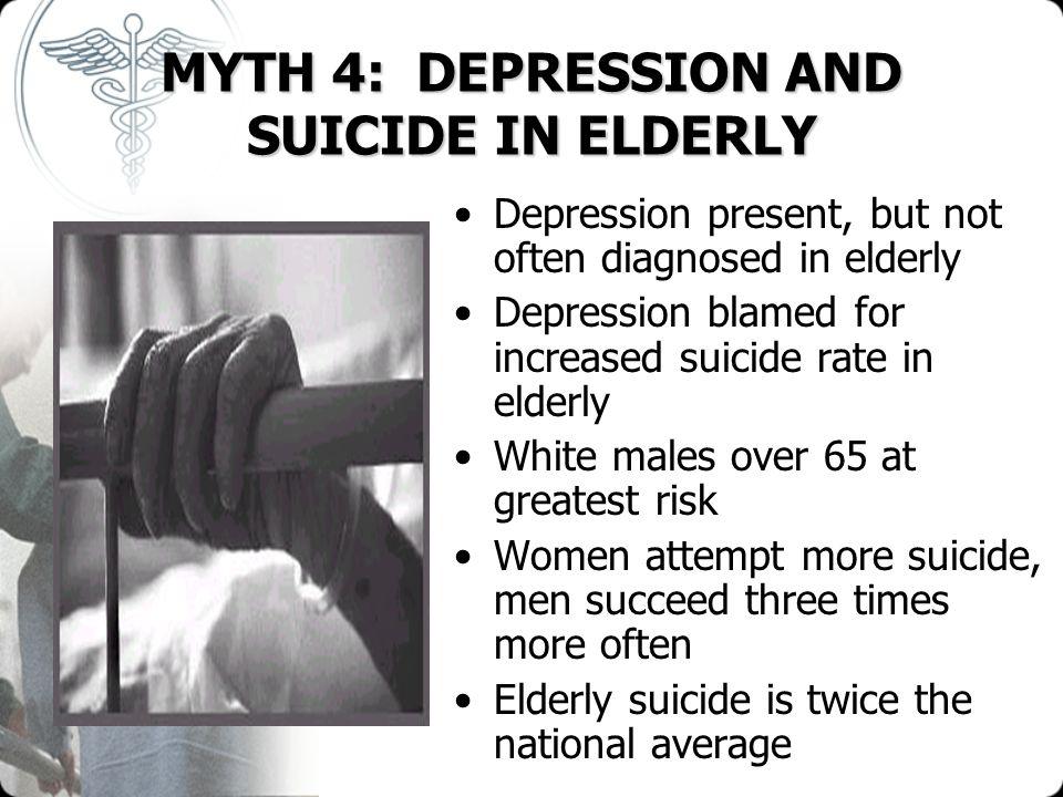 MYTH 4: DEPRESSION AND SUICIDE IN ELDERLY Depression present, but not often diagnosed in elderly Depression blamed for increased suicide rate in elder