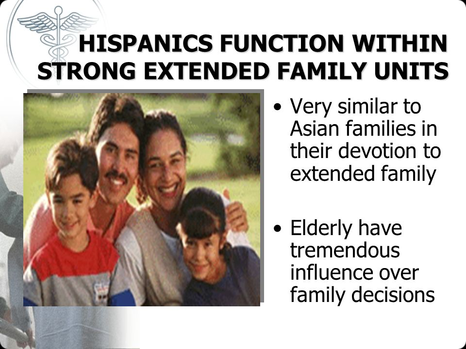 HISPANICS FUNCTION WITHIN STRONG EXTENDED FAMILY UNITS HISPANICS FUNCTION WITHIN STRONG EXTENDED FAMILY UNITS Very similar to Asian families in their