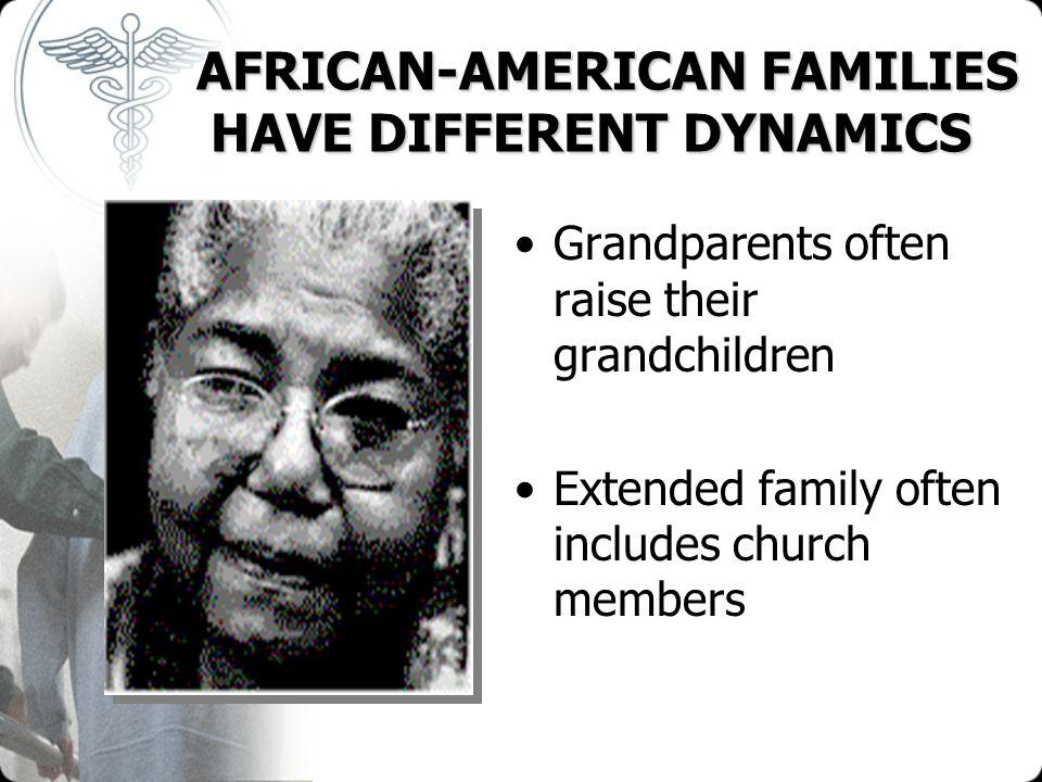 AFRICAN-AMERICAN FAMILIES HAVE DIFFERENT DYNAMICS AFRICAN-AMERICAN FAMILIES HAVE DIFFERENT DYNAMICS Grandparents often raise their grandchildren Exten
