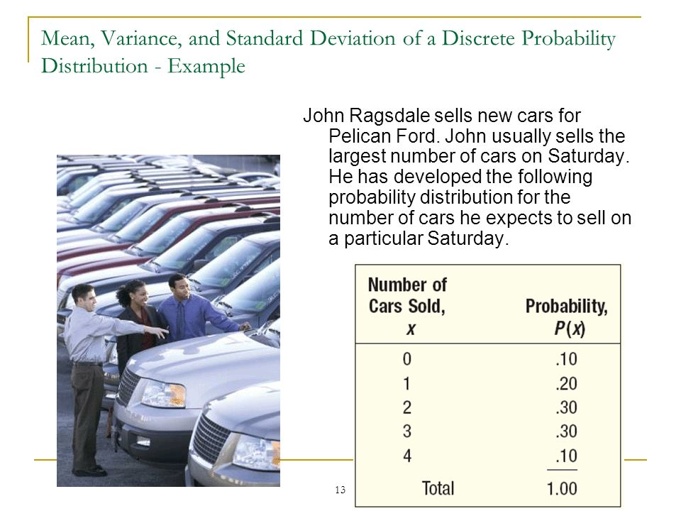 13 Mean, Variance, and Standard Deviation of a Discrete Probability Distribution - Example John Ragsdale sells new cars for Pelican Ford. John usually