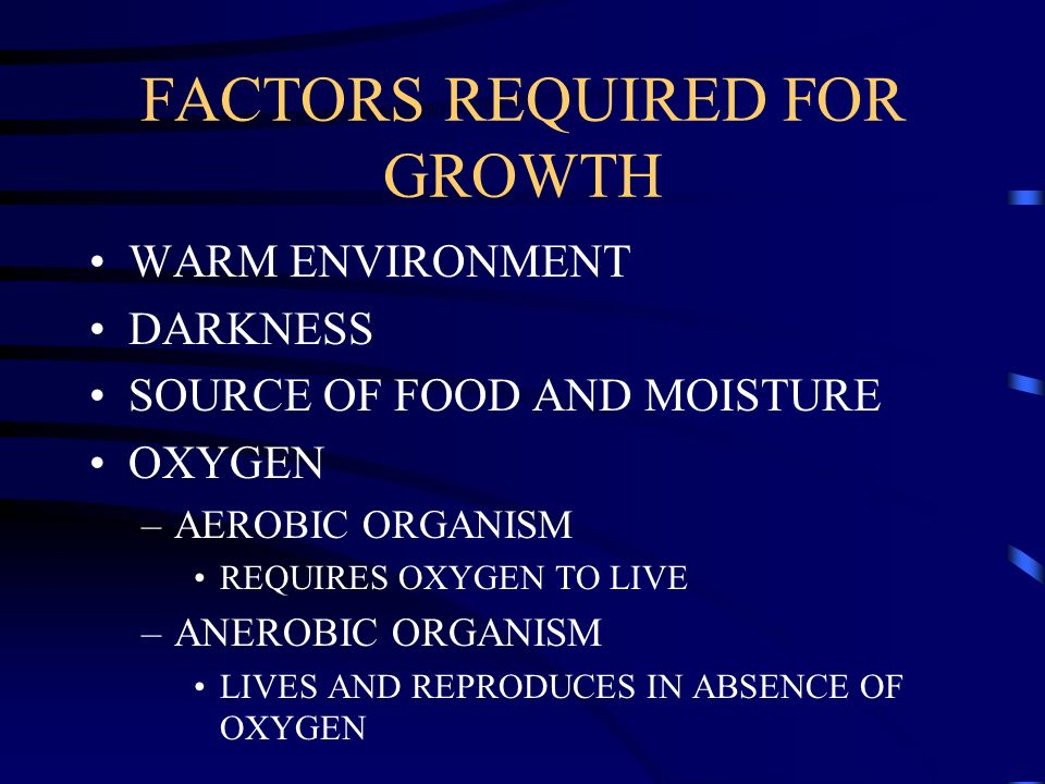 FACTORS REQUIRED FOR GROWTH WARM ENVIRONMENT DARKNESS SOURCE OF FOOD AND MOISTURE OXYGEN –AEROBIC ORGANISM REQUIRES OXYGEN TO LIVE –ANEROBIC ORGANISM