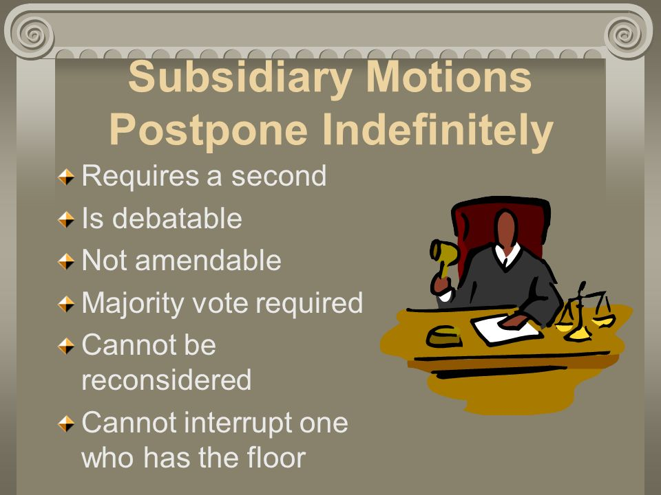 Subsidiary Motions Postpone Indefinitely Requires a second Is debatable Not amendable Majority vote required Cannot be reconsidered Cannot interrupt one who has the floor