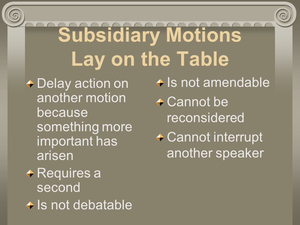 Subsidiary Motions Lay on the Table Delay action on another motion because something more important has arisen Requires a second Is not debatable Is not amendable Cannot be reconsidered Cannot interrupt another speaker
