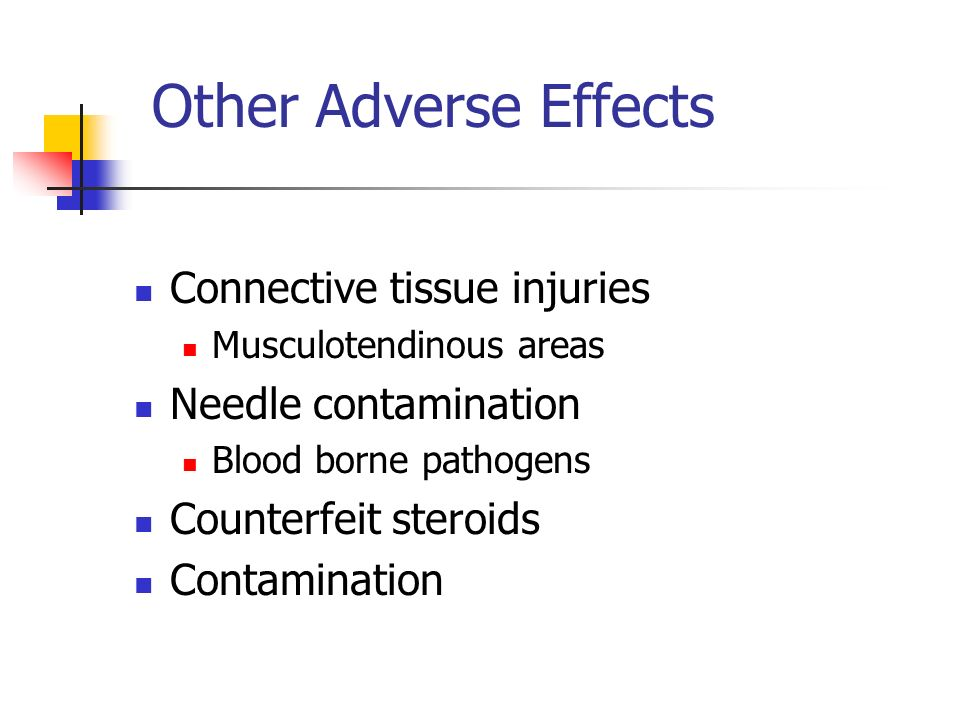 Other Adverse Effects Connective tissue injuries Musculotendinous areas Needle contamination Blood borne pathogens Counterfeit steroids Contamination