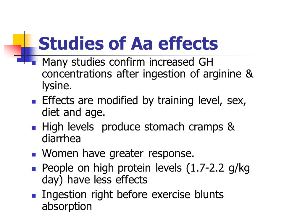 Studies of Aa effects Many studies confirm increased GH concentrations after ingestion of arginine & lysine. Effects are modified by training level, s