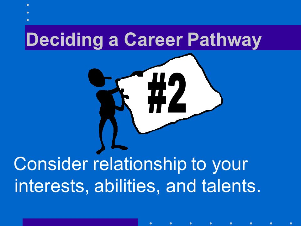 Deciding a Career Pathway Consider relationship to your interests, abilities, and talents.