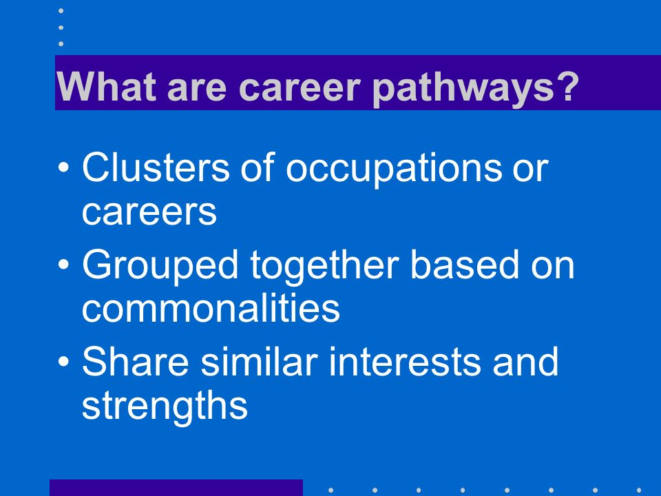 What are career pathways? Clusters of occupations or careers Grouped together based on commonalities Share similar interests and strengths