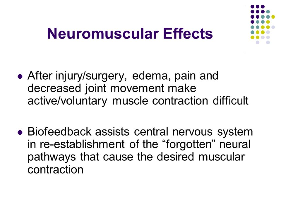 Neuromuscular Effects After injury/surgery, edema, pain and decreased joint movement make active/voluntary muscle contraction difficult Biofeedback as