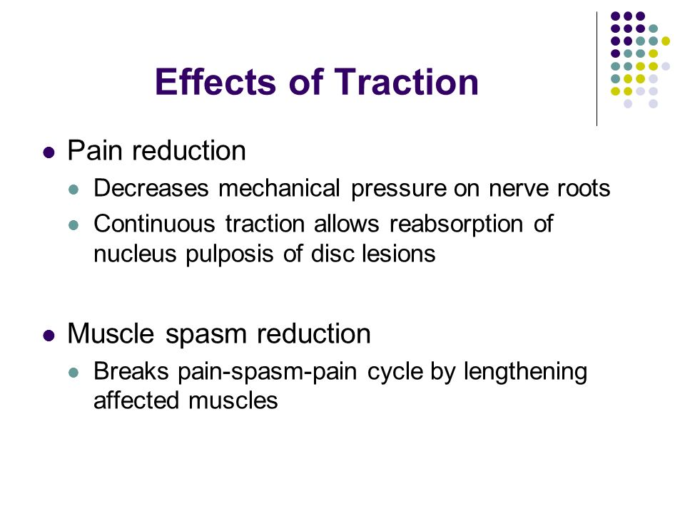 Effects of Traction Pain reduction Decreases mechanical pressure on nerve roots Continuous traction allows reabsorption of nucleus pulposis of disc le