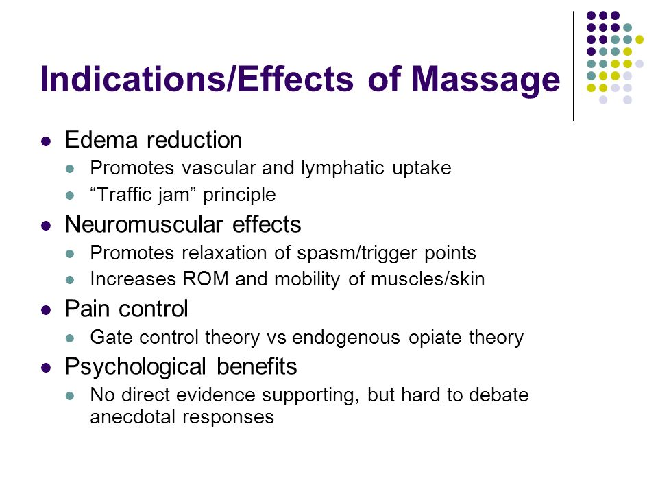Indications/Effects of Massage Edema reduction Promotes vascular and lymphatic uptake Traffic jam principle Neuromuscular effects Promotes relaxation