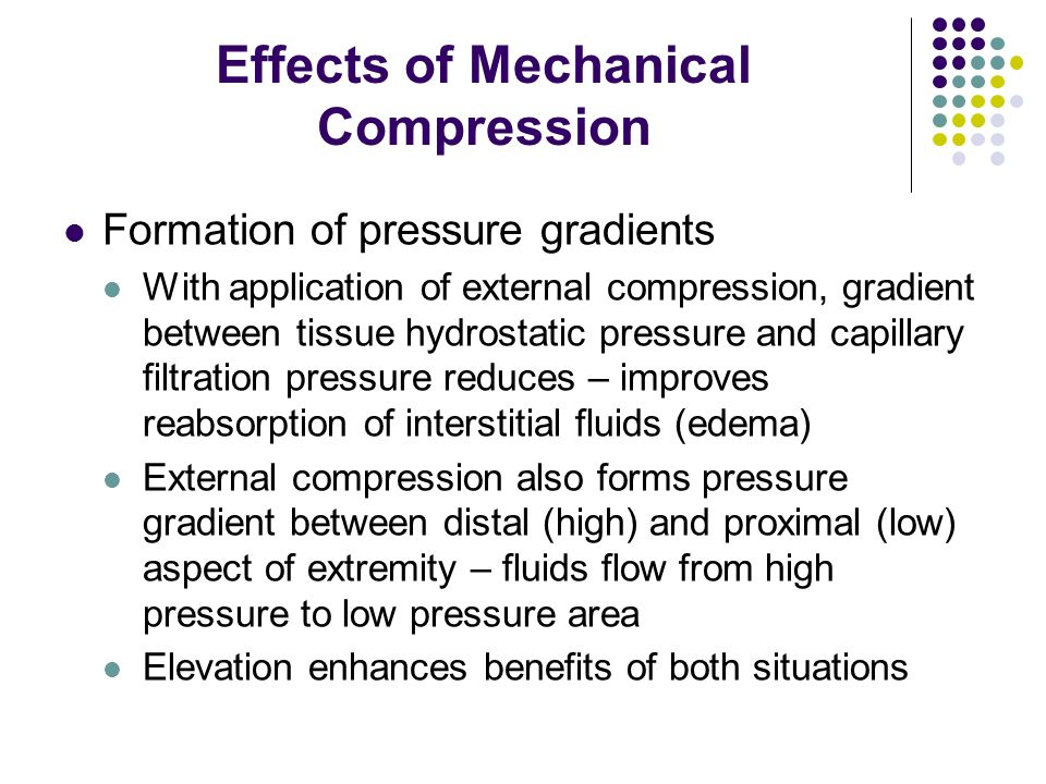 Effects of Mechanical Compression Formation of pressure gradients With application of external compression, gradient between tissue hydrostatic pressu