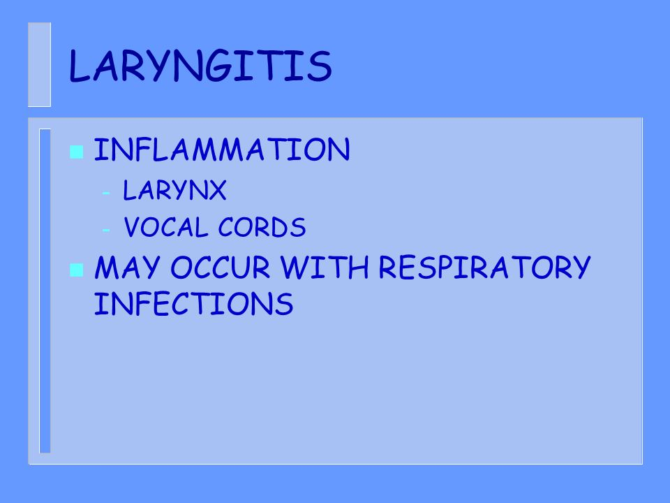 LARYNGITIS n INFLAMMATION – LARYNX – VOCAL CORDS n MAY OCCUR WITH RESPIRATORY INFECTIONS