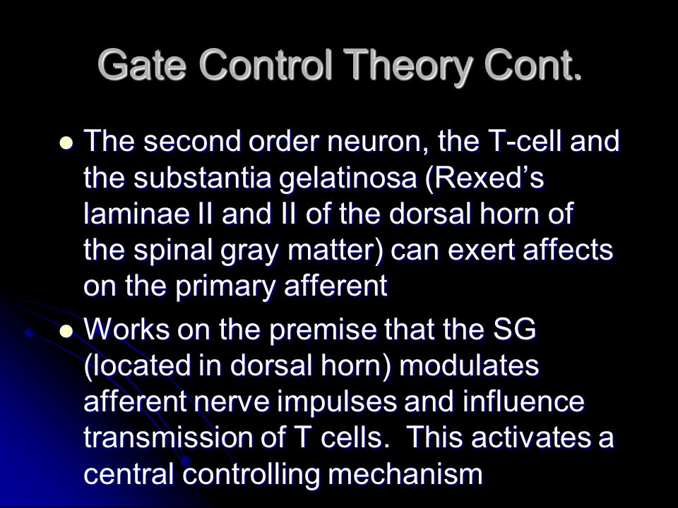 Gate Control Theory Cont. The second order neuron, the T-cell and the substantia gelatinosa (Rexeds laminae II and II of the dorsal horn of the spinal