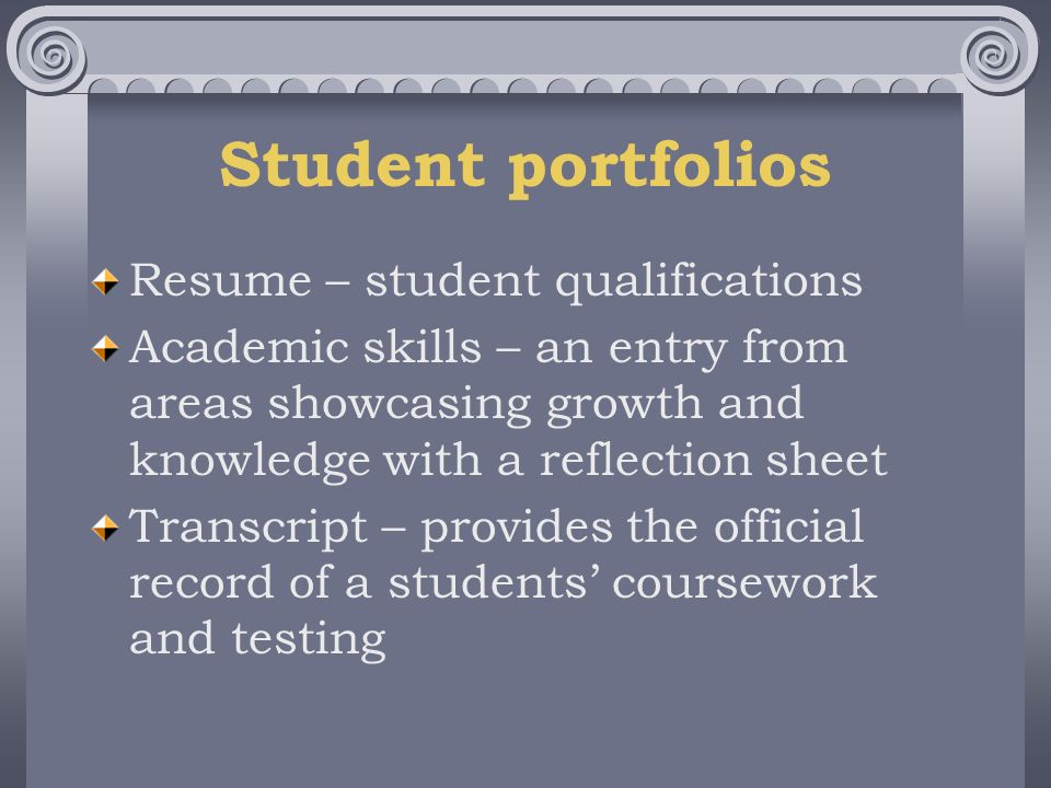 Student portfolios Resume – student qualifications Academic skills – an entry from areas showcasing growth and knowledge with a reflection sheet Transcript – provides the official record of a students coursework and testing
