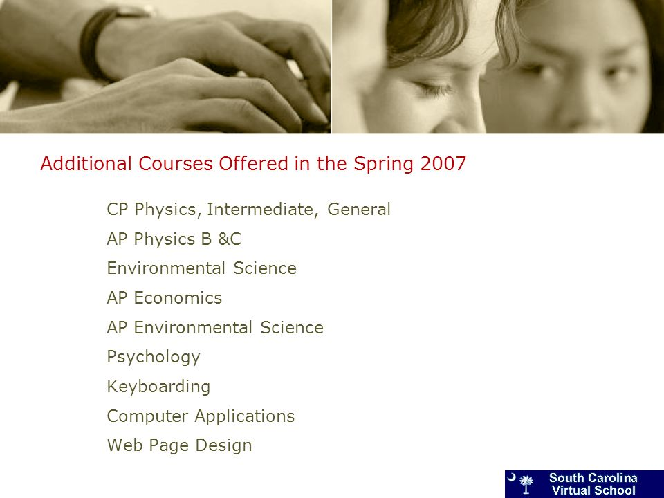 Additional Courses Offered in the Spring 2007 CP Physics, Intermediate, General AP Physics B &C Environmental Science AP Economics AP Environmental Science Psychology Keyboarding Computer Applications Web Page Design