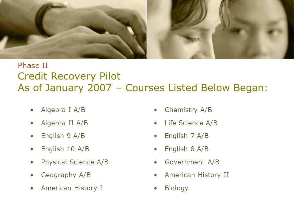 Phase II Credit Recovery Pilot As of January 2007 – Courses Listed Below Began: Algebra I A/B Algebra II A/B English 9 A/B English 10 A/B Physical Sci