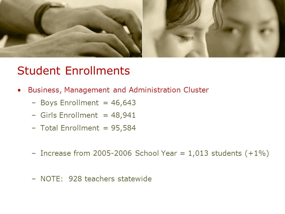 Student Enrollments Business, Management and Administration Cluster –Boys Enrollment= 46,643 –Girls Enrollment = 48,941 –Total Enrollment= 95,584 –Increase from 2005-2006 School Year = 1,013 students (+1%) –NOTE: 928 teachers statewide