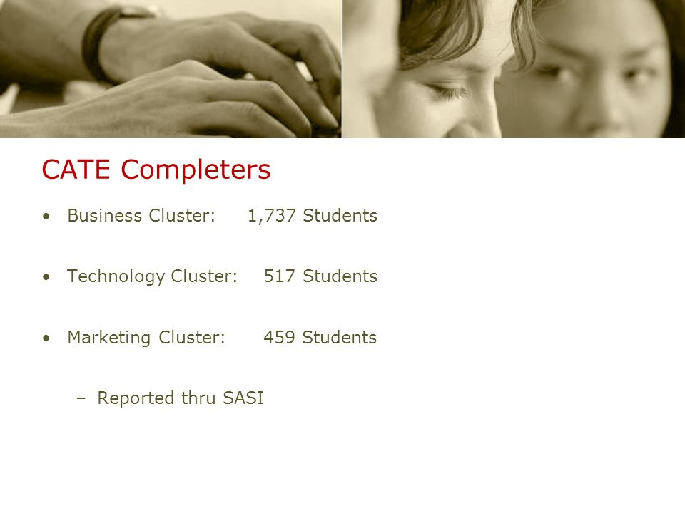 CATE Completers Business Cluster: 1,737 Students Technology Cluster: 517 Students Marketing Cluster: 459 Students –Reported thru SASI