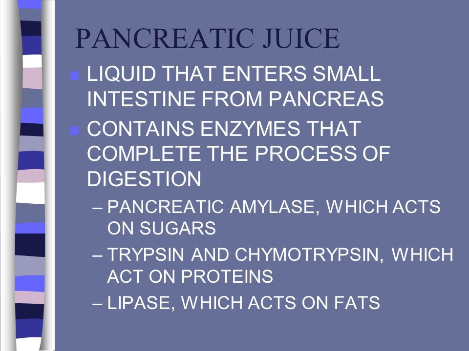 PANCREATIC JUICE n LIQUID THAT ENTERS SMALL INTESTINE FROM PANCREAS n CONTAINS ENZYMES THAT COMPLETE THE PROCESS OF DIGESTION –PANCREATIC AMYLASE, WHI