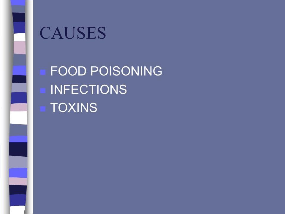 CAUSES n FOOD POISONING n INFECTIONS n TOXINS