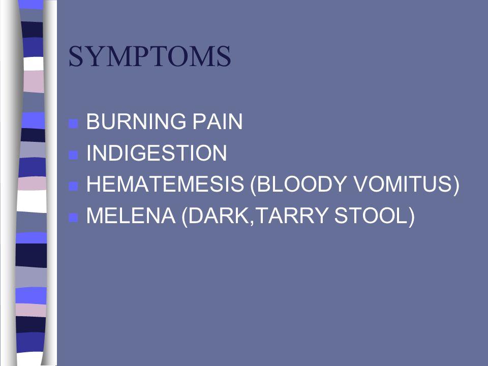 SYMPTOMS n BURNING PAIN n INDIGESTION n HEMATEMESIS (BLOODY VOMITUS) n MELENA (DARK,TARRY STOOL)