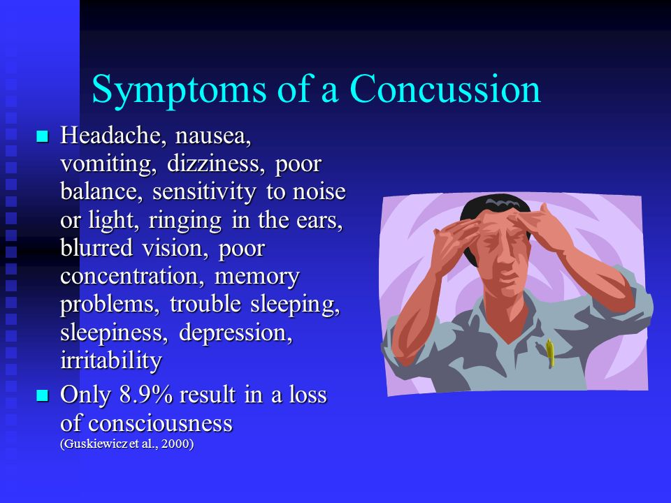 Symptoms of a Concussion Headache, nausea, vomiting, dizziness, poor balance, sensitivity to noise or light, ringing in the ears, blurred vision, poor