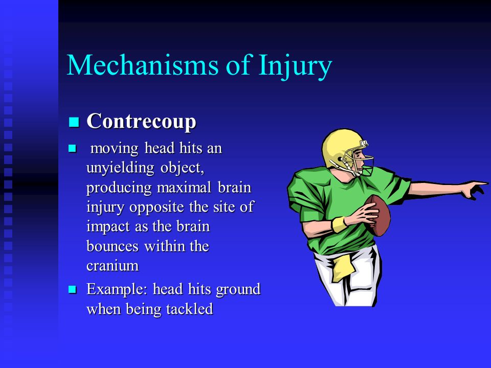 Mechanisms of Injury Repeated Sub- concussive Blows Repeated Sub- concussive Blows Many nontraumatic blows overtime Many nontraumatic blows overtime Example: Soccer players who head the ball frequently Example: Soccer players who head the ball frequently