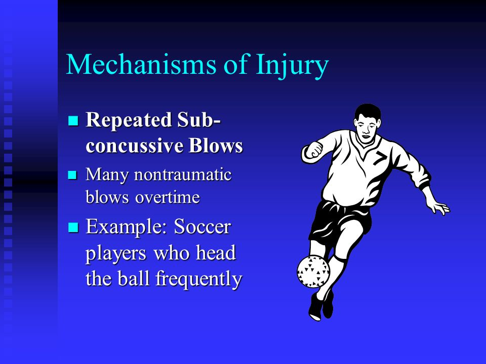 Types of Head Injuries in Sports Cerebral Concussion Cerebral Concussion Cerebral Contusion Cerebral Contusion Cerebral Hematoma Cerebral Hematoma