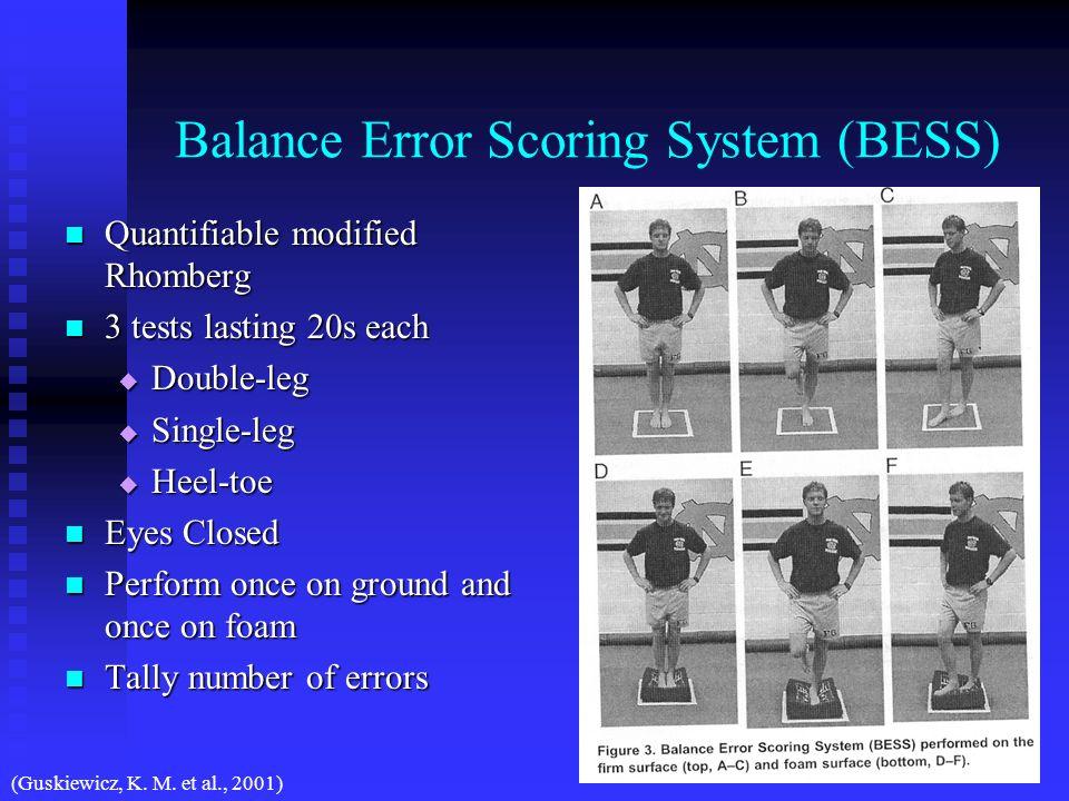 Balance Error Scoring System (BESS) Quantifiable modified Rhomberg Quantifiable modified Rhomberg 3 tests lasting 20s each 3 tests lasting 20s each Do