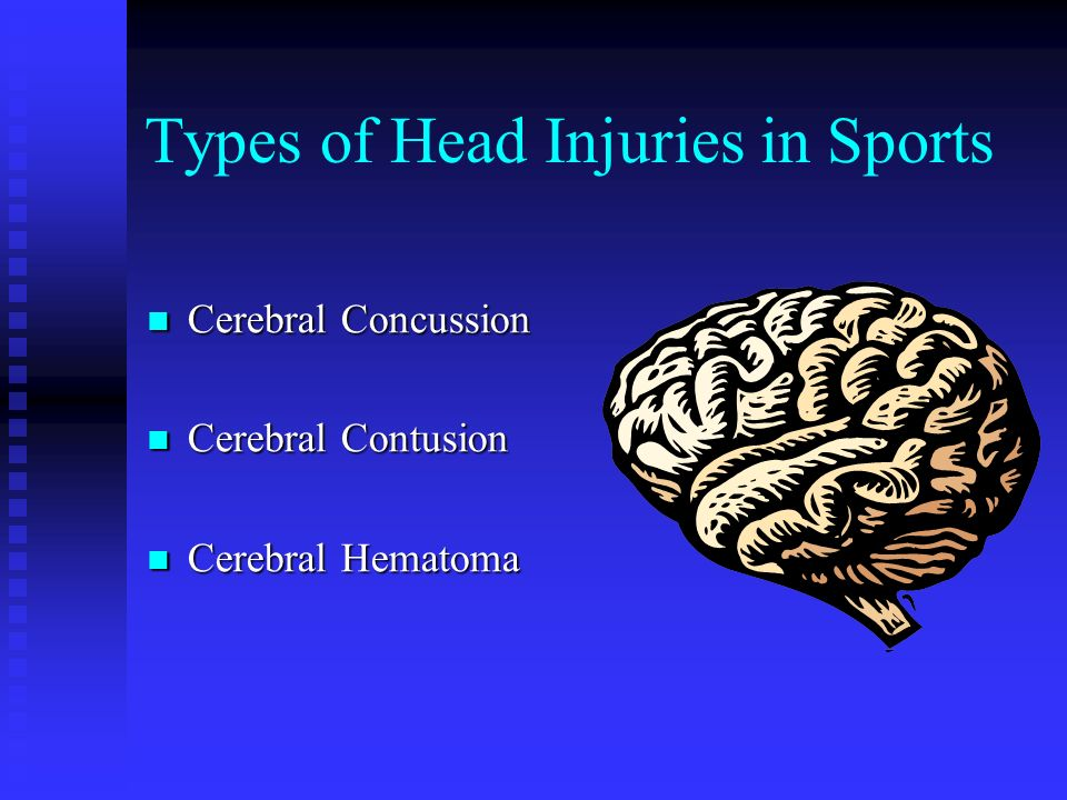 Symptoms of a Concussion Headache, nausea, vomiting, dizziness, poor balance, sensitivity to noise or light, ringing in the ears, blurred vision, poor concentration, memory problems, trouble sleeping, sleepiness, depression, irritability Headache, nausea, vomiting, dizziness, poor balance, sensitivity to noise or light, ringing in the ears, blurred vision, poor concentration, memory problems, trouble sleeping, sleepiness, depression, irritability Only 8.9% result in a loss of consciousness (Guskiewicz et al., 2000) Only 8.9% result in a loss of consciousness (Guskiewicz et al., 2000)