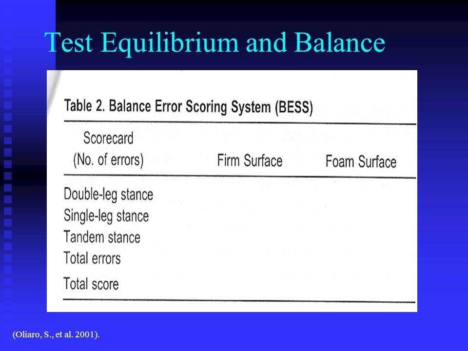 Test Equilibrium and Balance (Oliaro, S., et al. 2001).