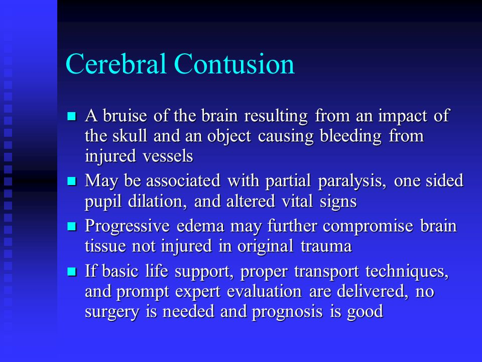 Cerebral Hematoma Blood clot in the tissue surrounding the brain causes pressure on the brain Blood clot in the tissue surrounding the brain causes pressure on the brain 3 Types 3 Types Epidural Epidural Subdural Subdural Intercerebral Intercerebral