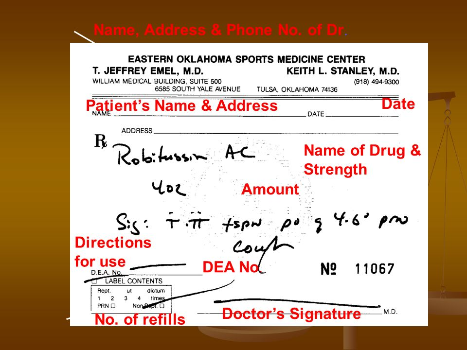 Name, Address & Phone No. of Dr. Patients Name & Address Date Name of Drug & Strength Amount Directions for use No. of refills DEA No. Doctors Signatu