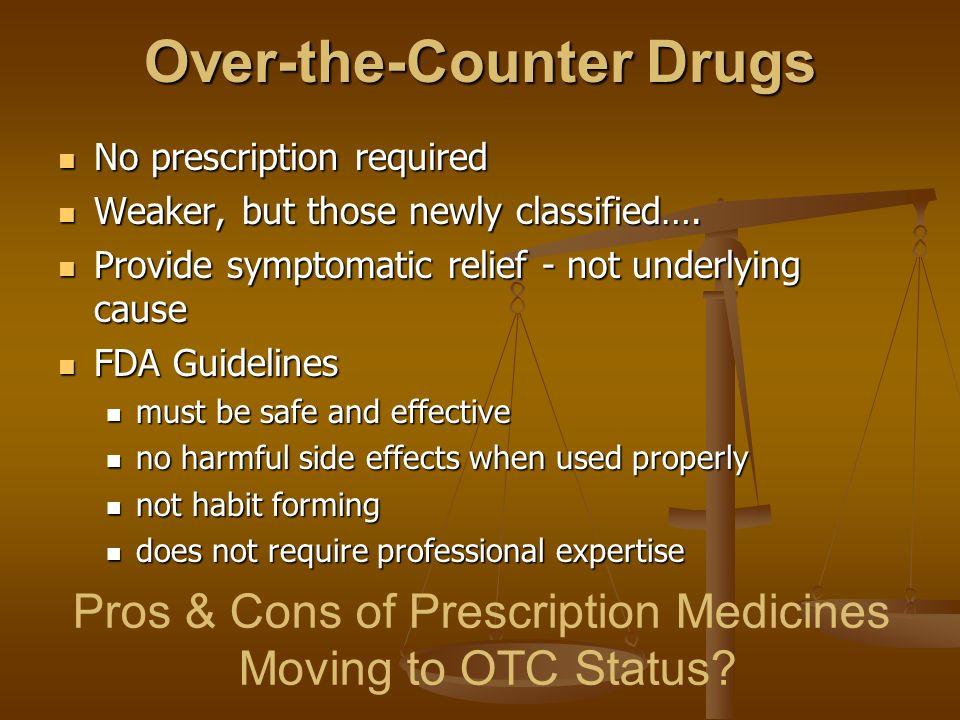 Over-the-Counter Drugs No prescription required No prescription required Weaker, but those newly classified…. Weaker, but those newly classified…. Pro