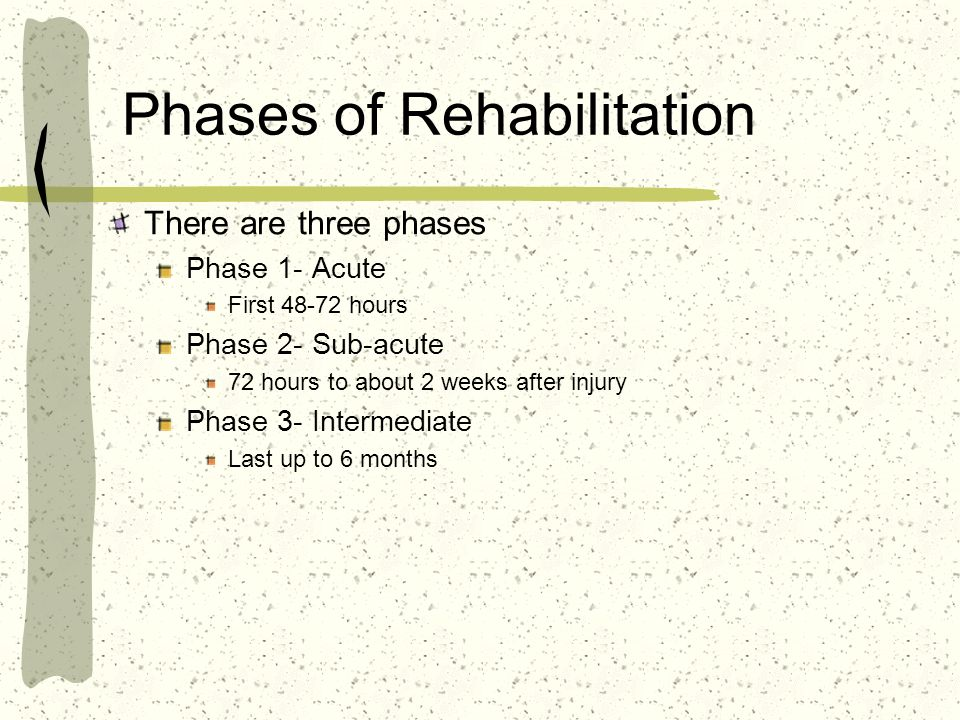 Phases of Rehabilitation There are three phases Phase 1- Acute First 48-72 hours Phase 2- Sub-acute 72 hours to about 2 weeks after injury Phase 3- In