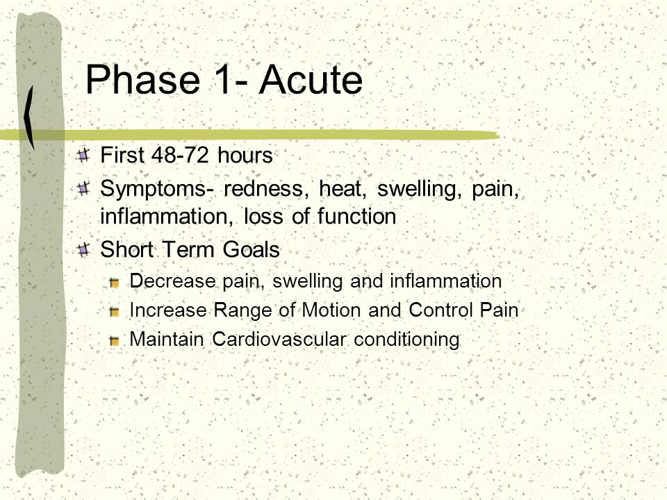 Phase 1- Acute First 48-72 hours Symptoms- redness, heat, swelling, pain, inflammation, loss of function Short Term Goals Decrease pain, swelling and